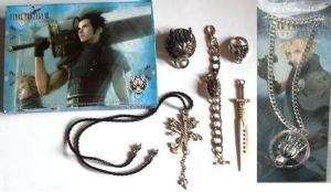 Final Fantasy Squall's Lion Heart Pendant Necklace Chain 5 set, and FF Cloudy Strife Wolf Pendant